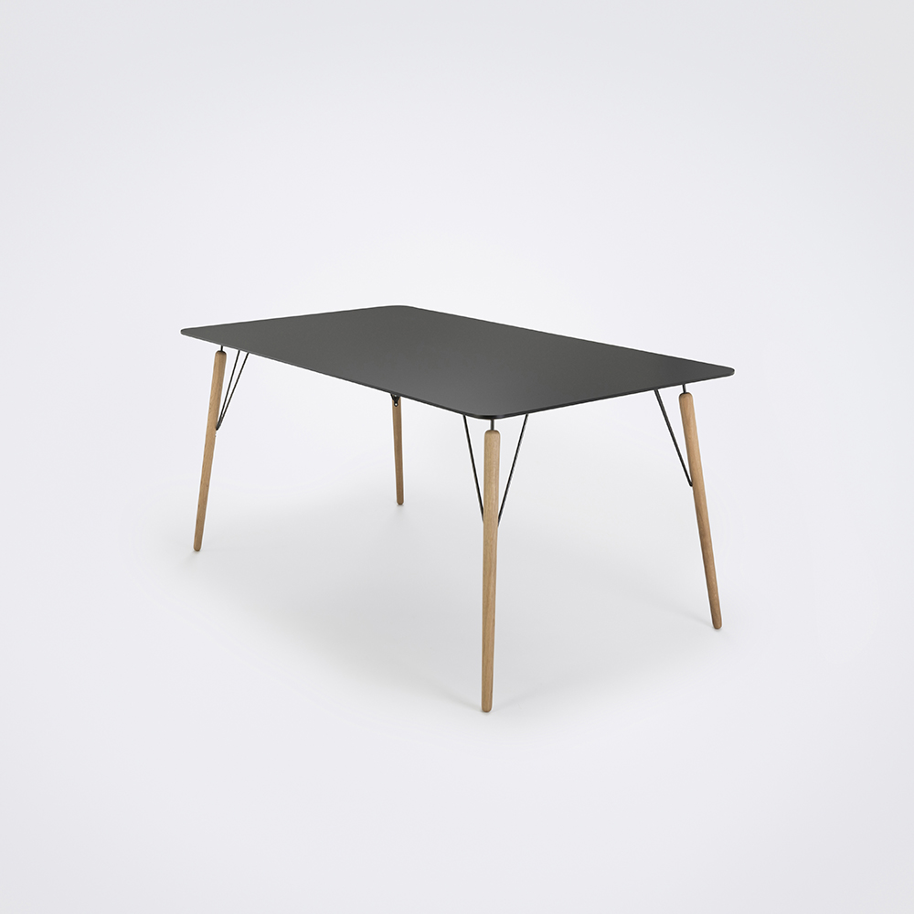 DINING TABLE 160cm // Granite Gray Laminate // Black Edge