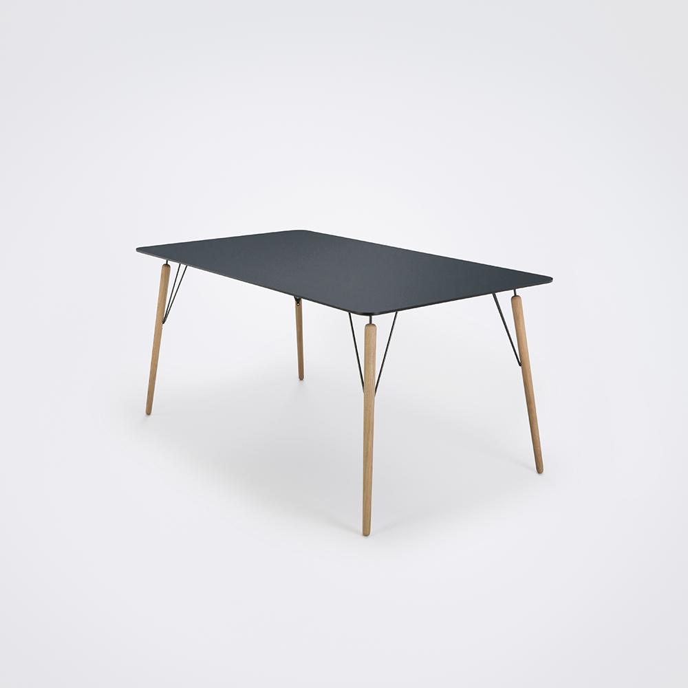 DINING TABLE 160cm // Smokey Blue Linoleum // Black Edge