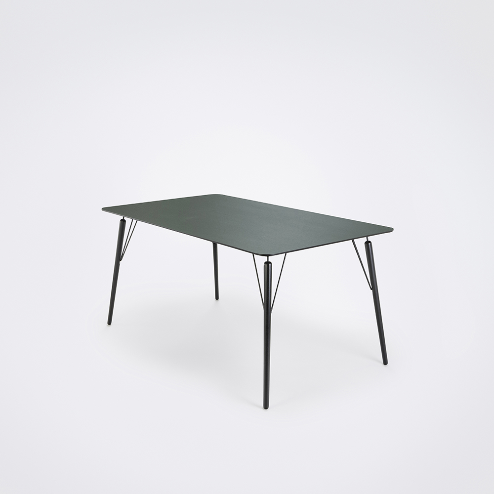 DINING TABLE 160cm // Dark Green Linoleum // Black Edge