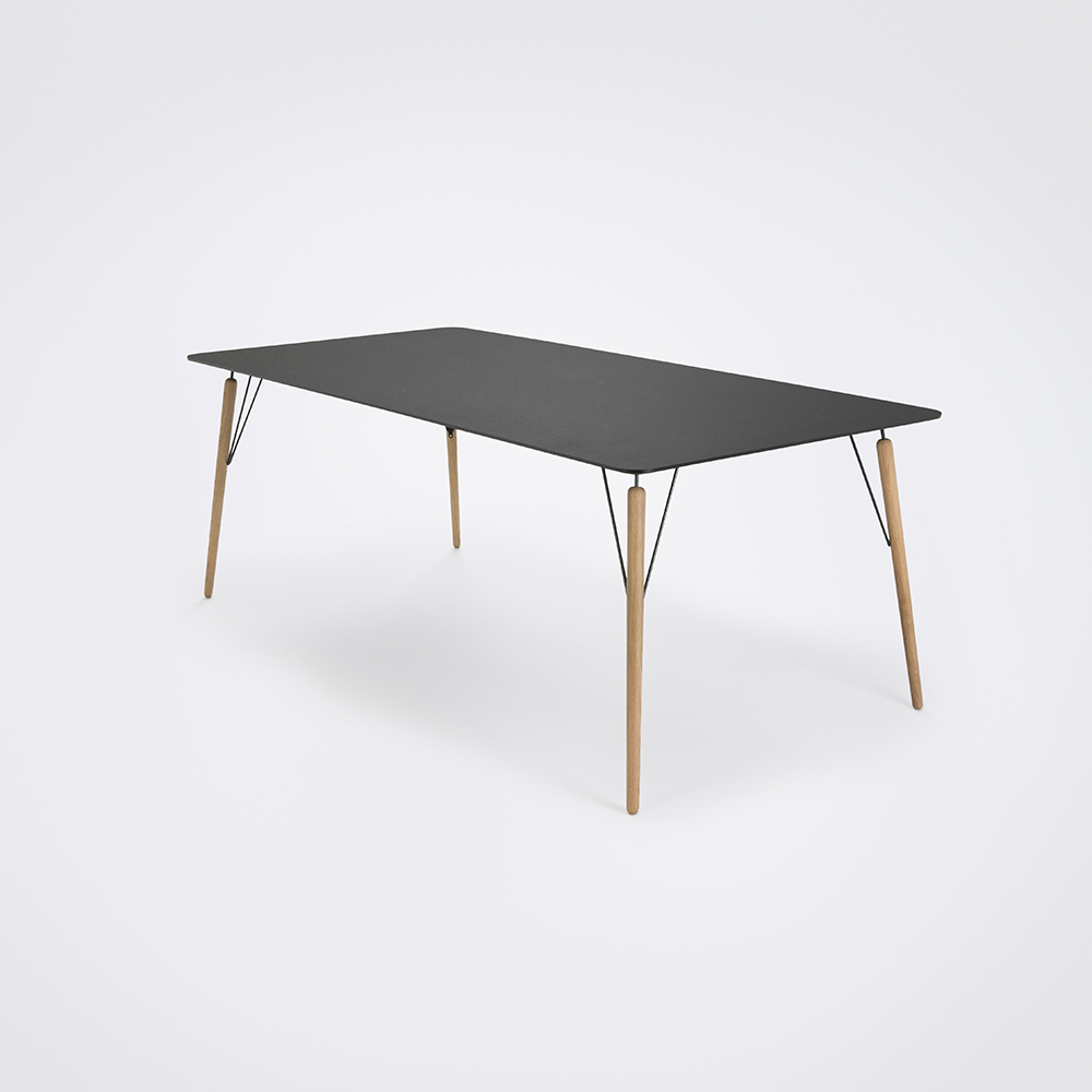 DINING TABLE 205cm // Black Linoleum // Black Edge