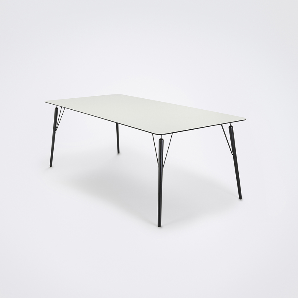 DINING TABLE 205cm // White Laminate // Black Edge