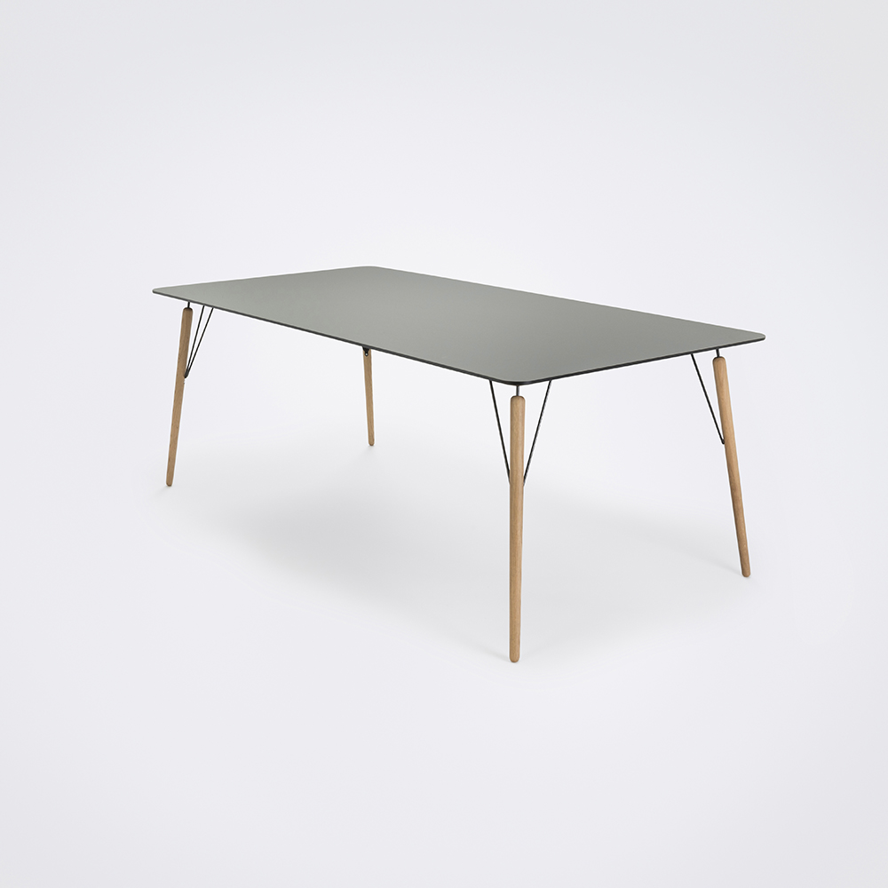 DINING TABLE 205cm // Ash Gray Linoleum // Black Edge