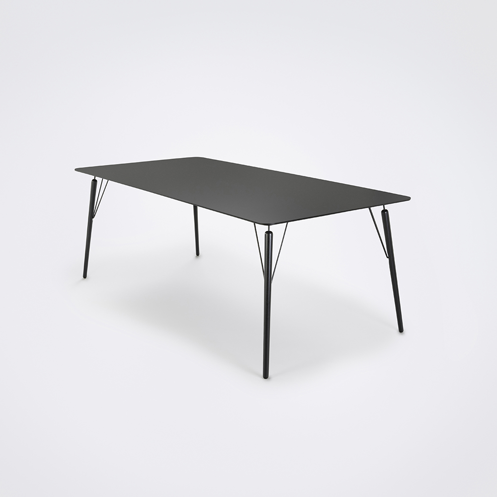 DINING TABLE 205cm // Granite Gray Laminate // Black Edge