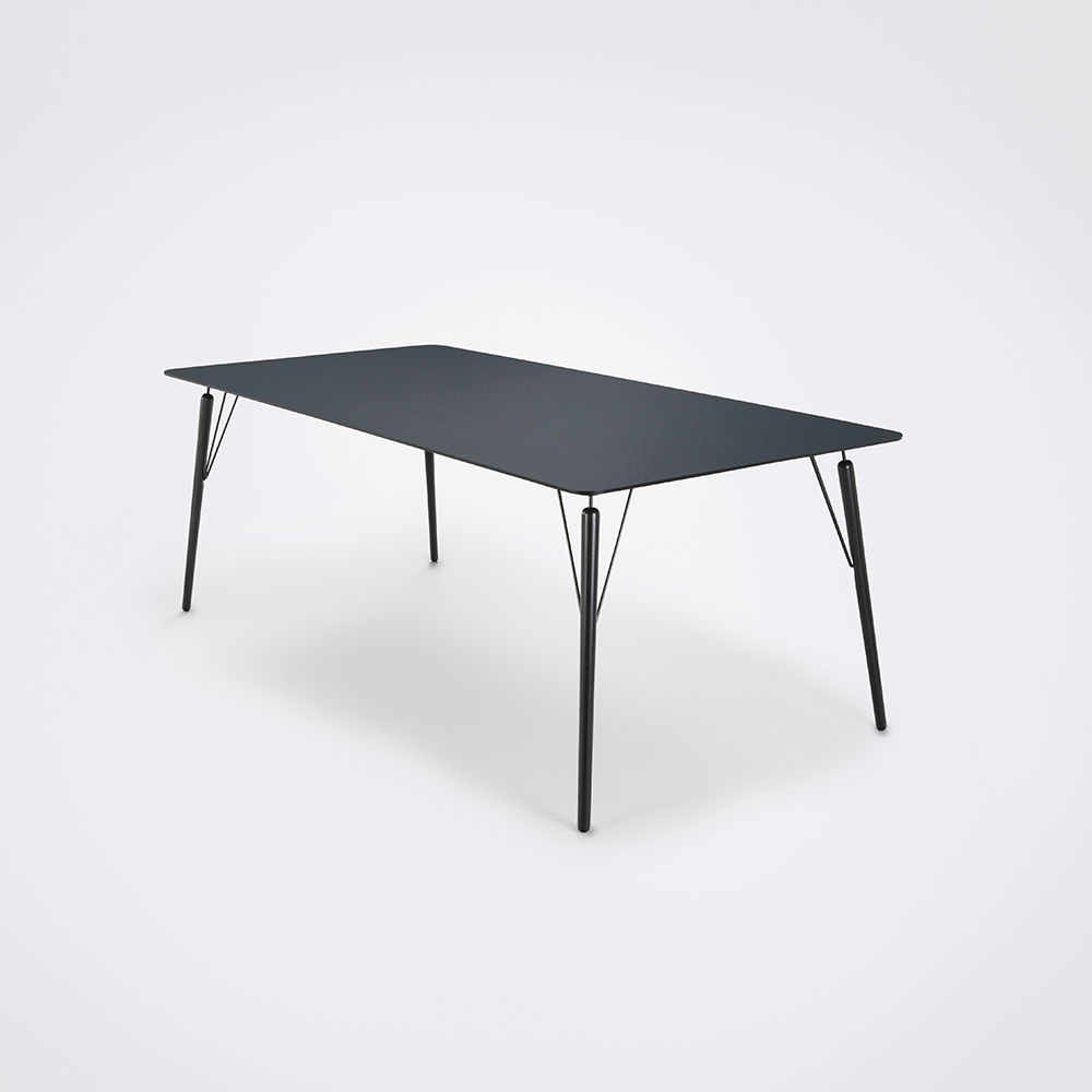 DINING TABLE 205cm // Smokey Blue Linoleum // Black Edge