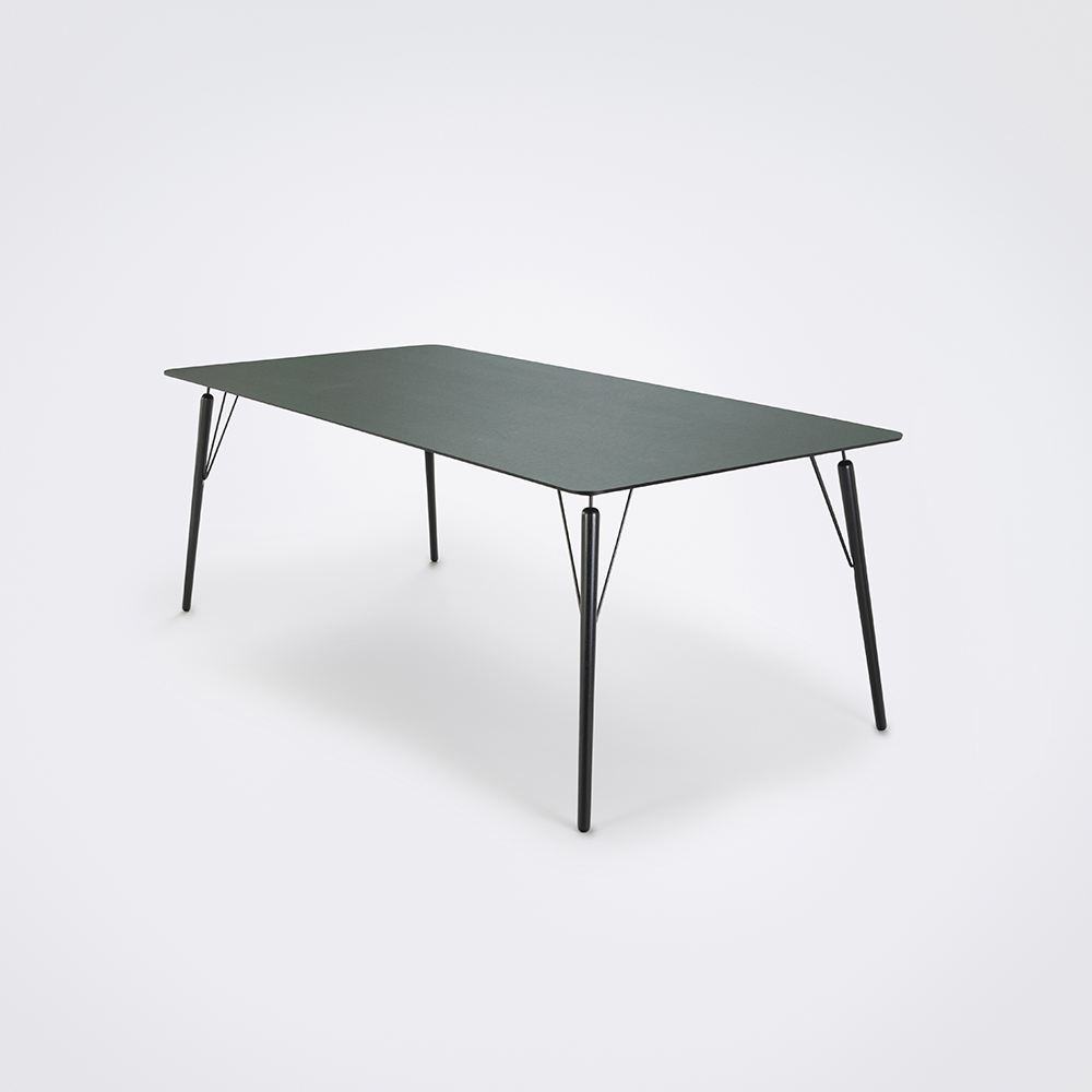 DINING TABLE 205cm // Dark Green Linoleum // Black Edge
