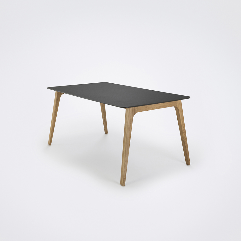 DINING TABLE 168cm // Black Linoleum // Black Edge