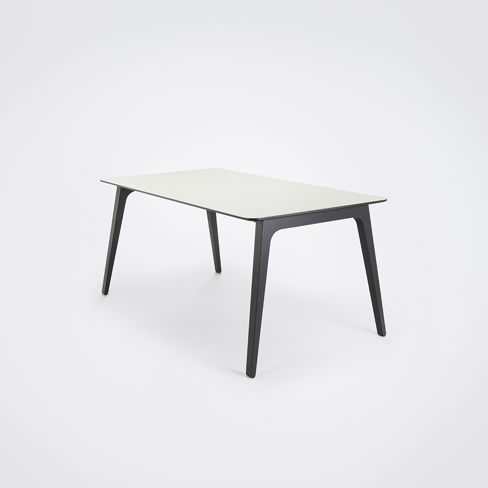 DINING TABLE 168cm // White Laminate // Black Edge