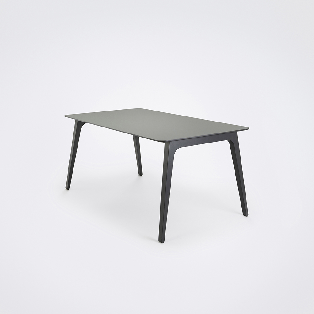 DINING TABLE 168cm // Ash Gray Linoleum // Black Edge