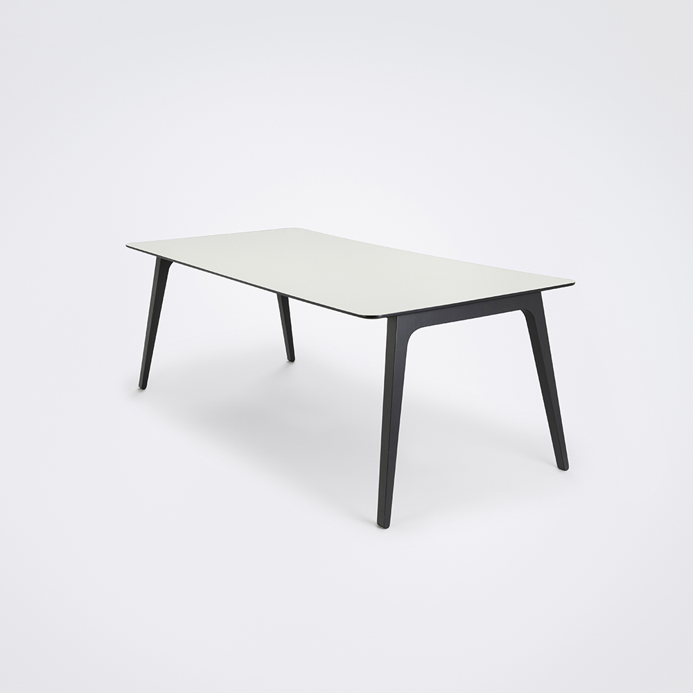 DINING TABLE 208cm // White Lamiate // Black Edge