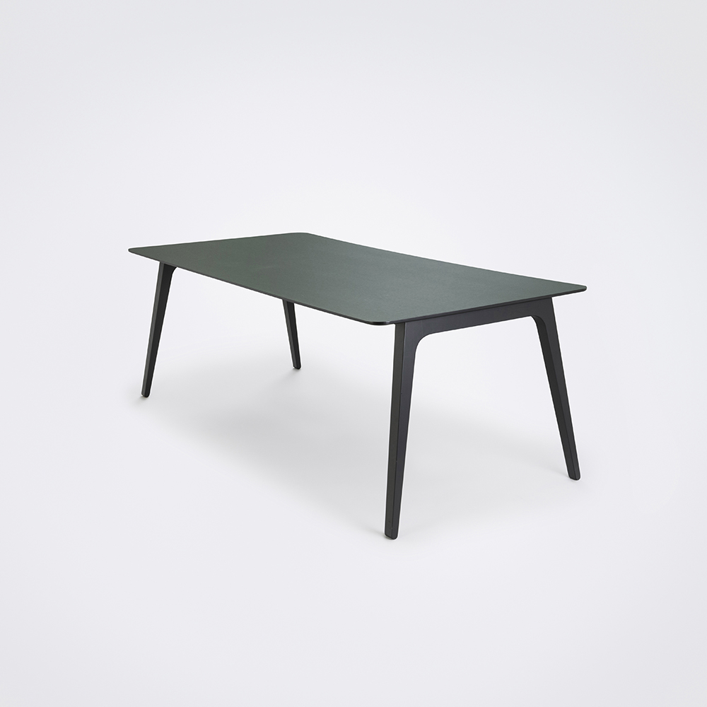 DINING TABLE 208cm // Dark Green Linoleum // Black Edge