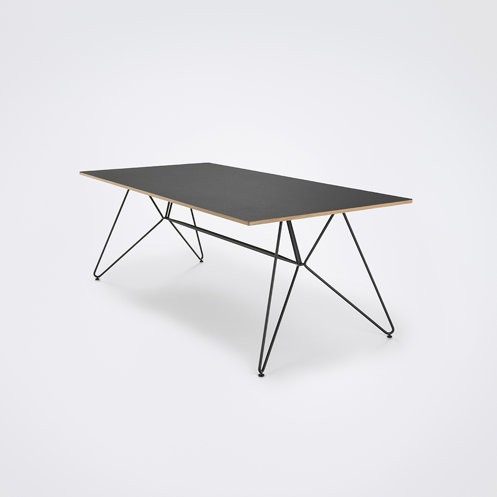 DINING TABLE 208cm // Black Linoleum // Oak Edge