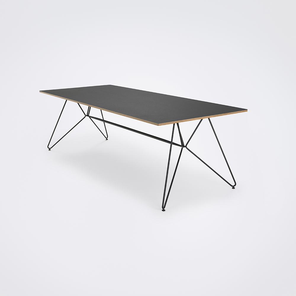 DINING TABLE 242CM // Black Linoleum // Oak Edge