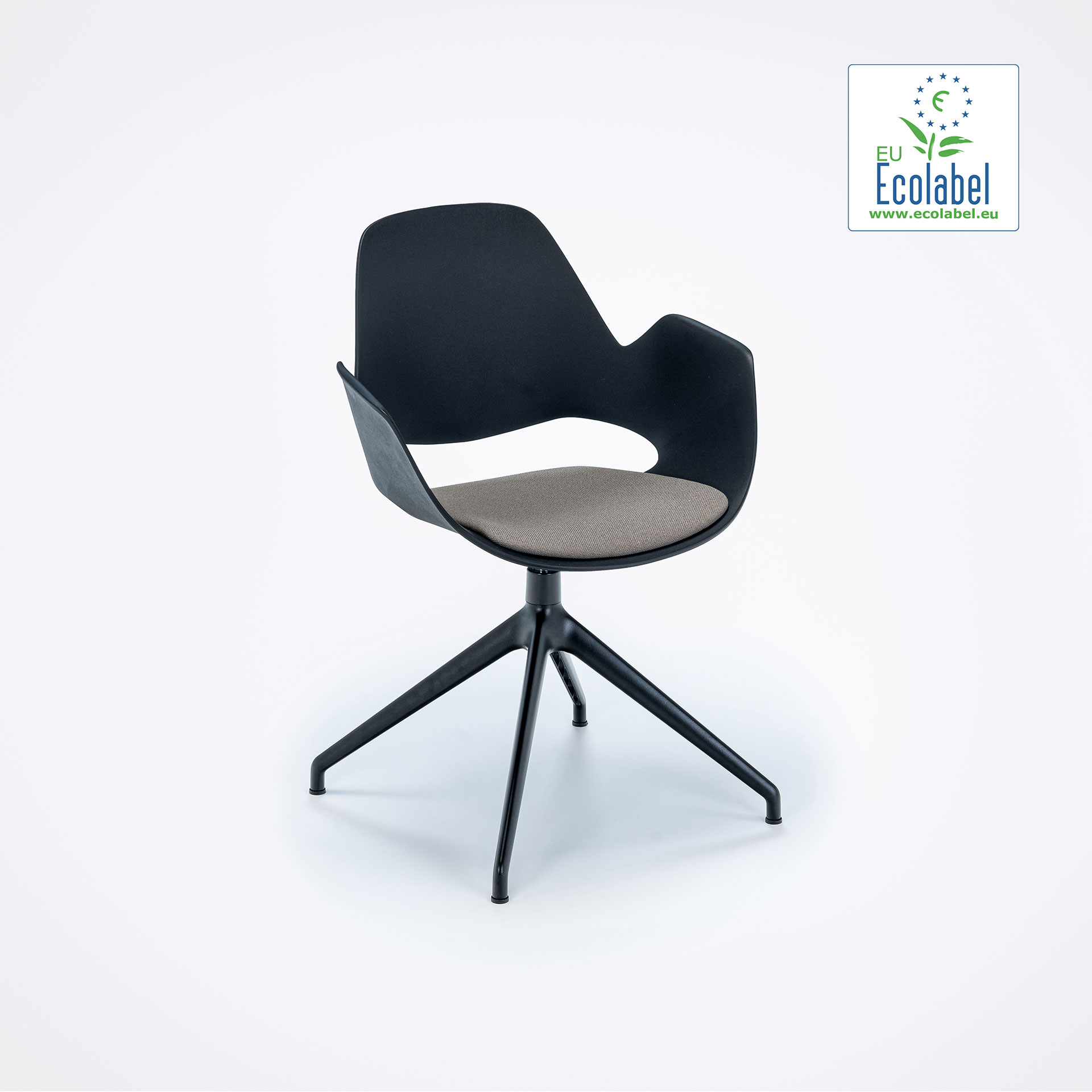 DINING ARMCHAIR // PADDED SEAT // Beige // 4 star swivel base