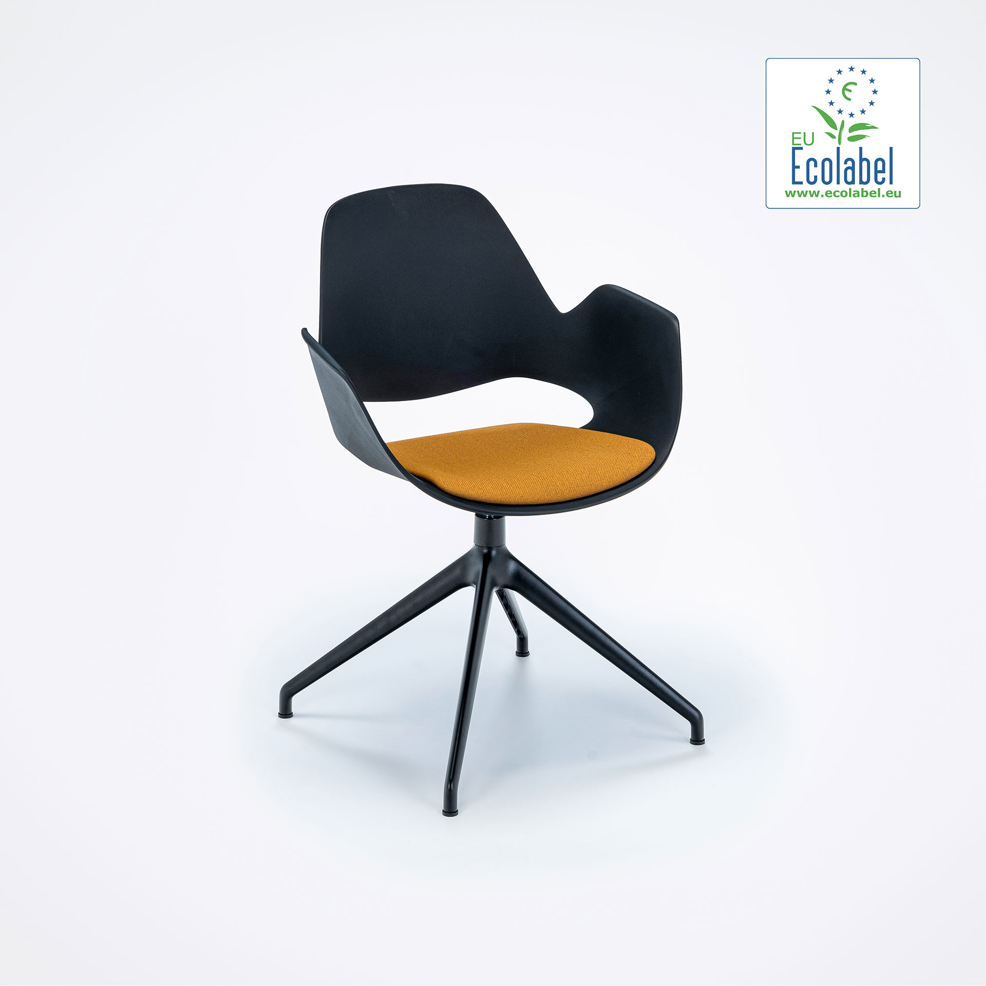 DINING ARMCHAIR // PADDED SEAT // Black/Dark yellow // 4 star swivel base