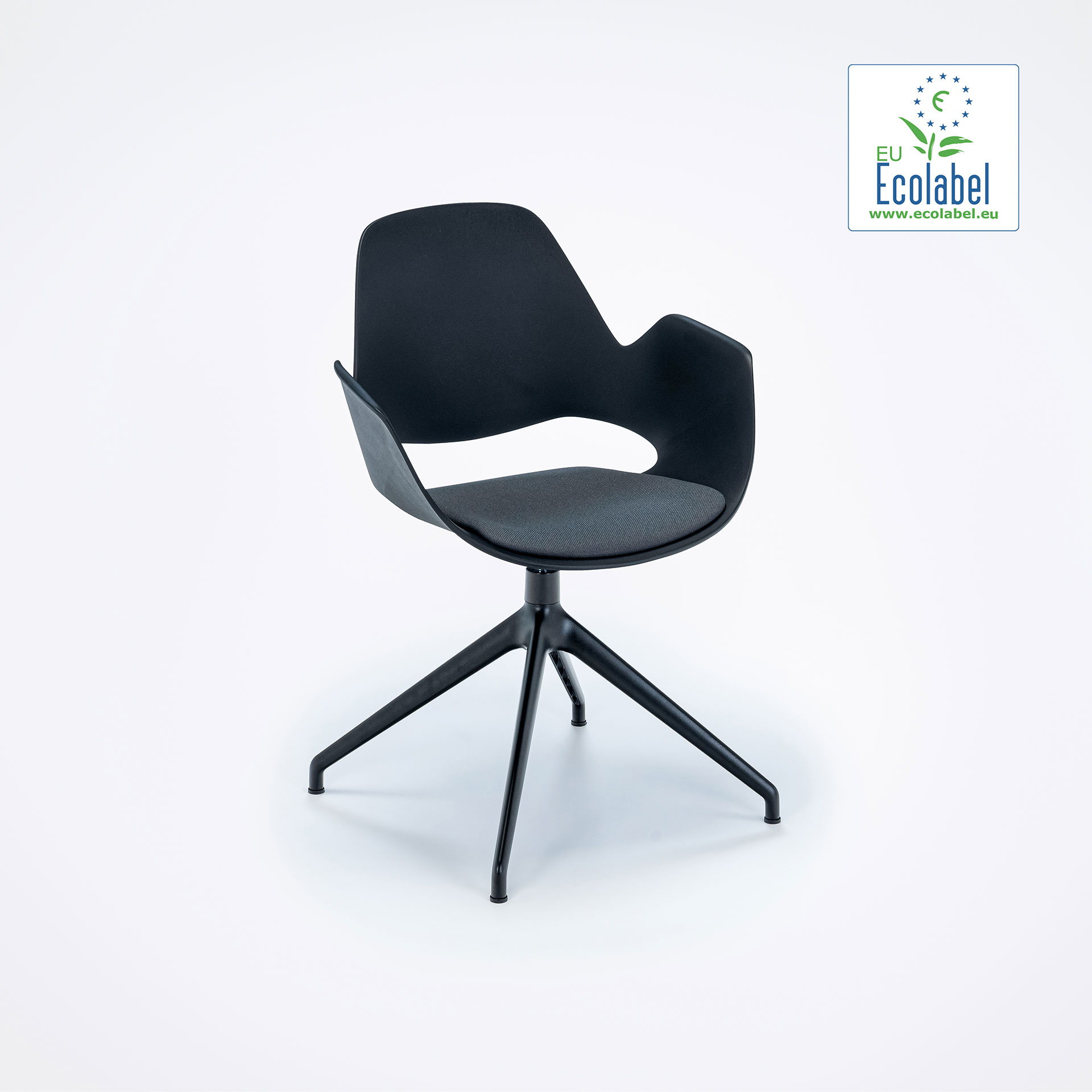 DINING ARMCHAIR // PADDED SEAT // Black/Dark grey // 4 star swivel base