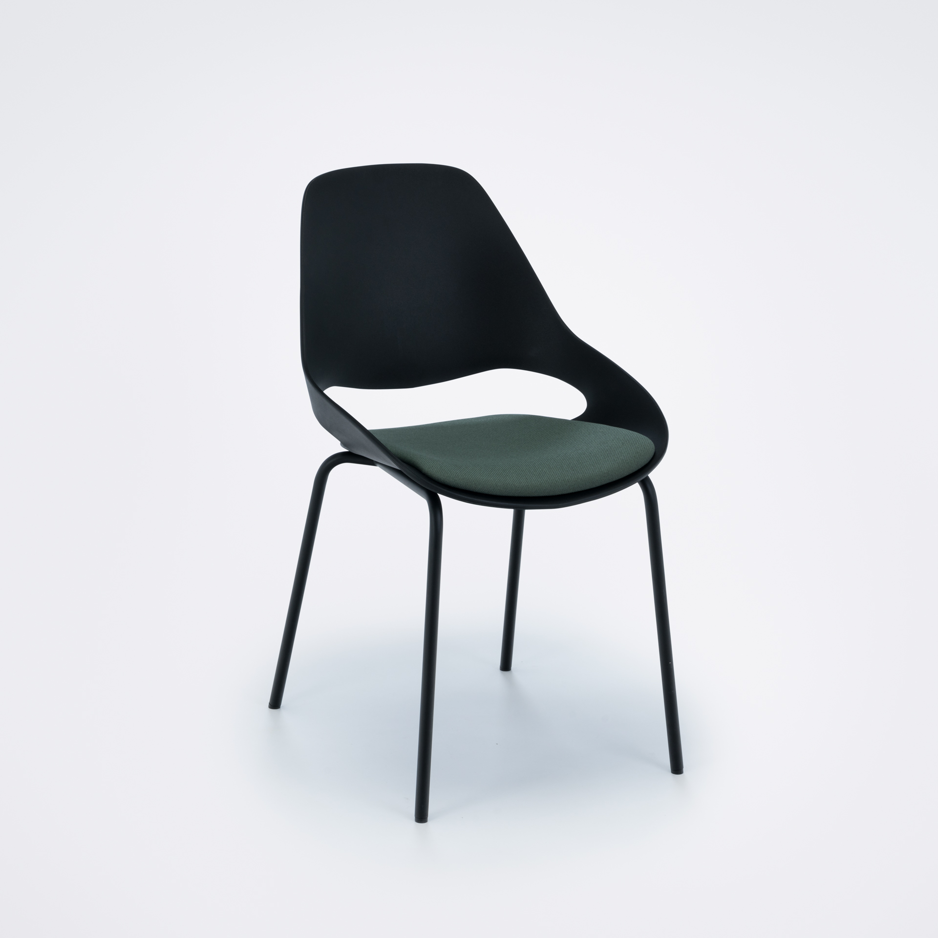 DINING CHAIR WITH PADDED SEAT // Black/dark olive// Black metal legs