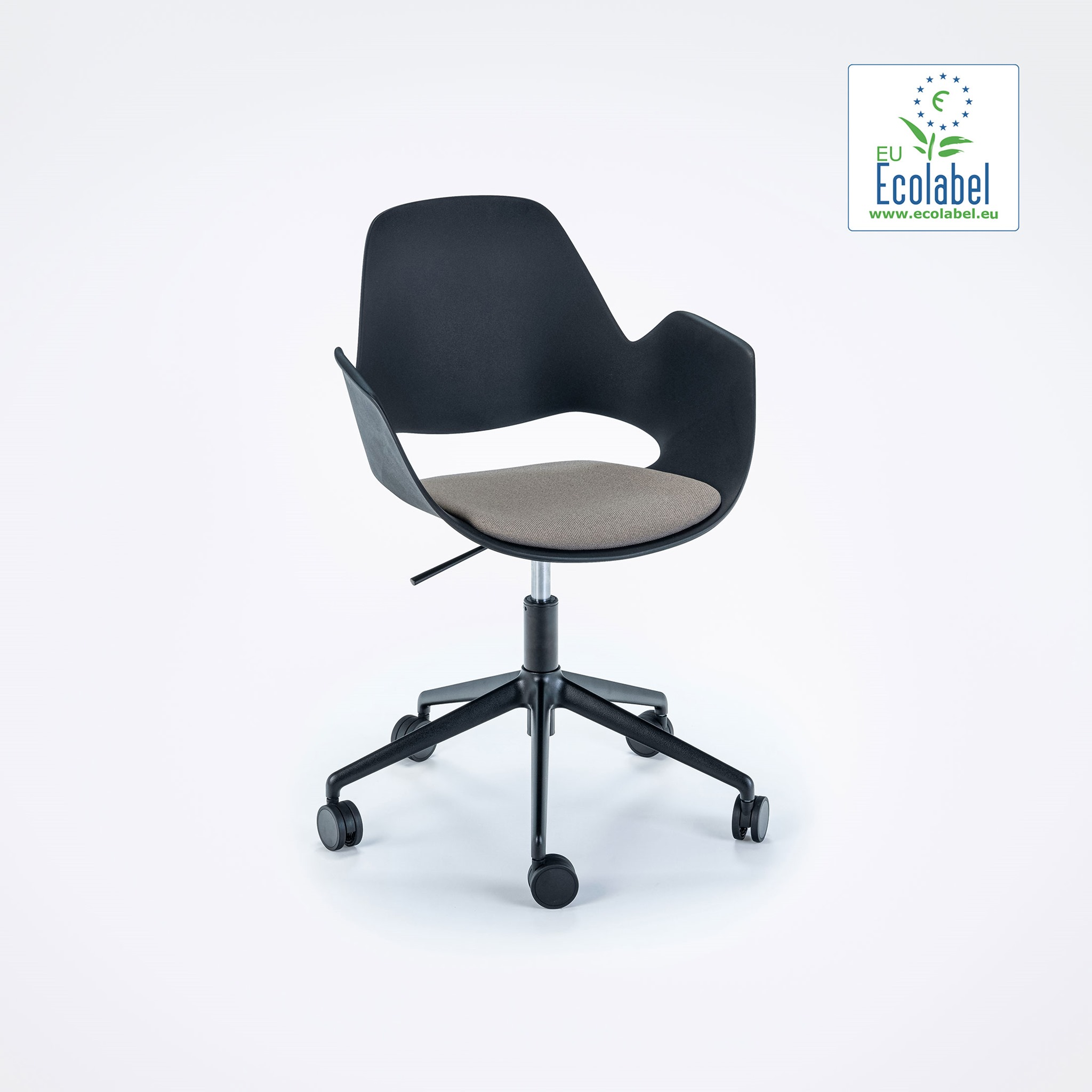 DINING ARMCHAIR // PADDED SEAT // Beige // castors // 5 star swivel base