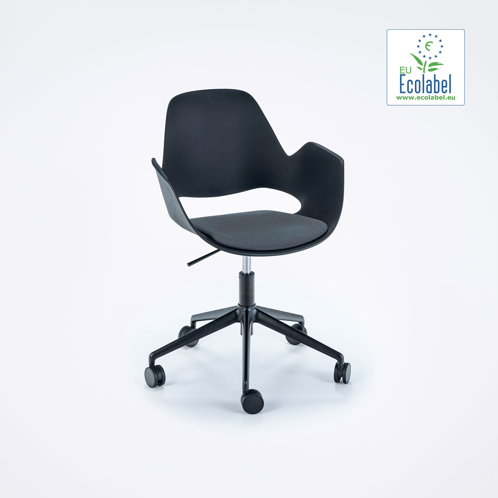 DINING ARMCHAIR // PADDED SEAT // Dark grey // castors // 5 star swivel base