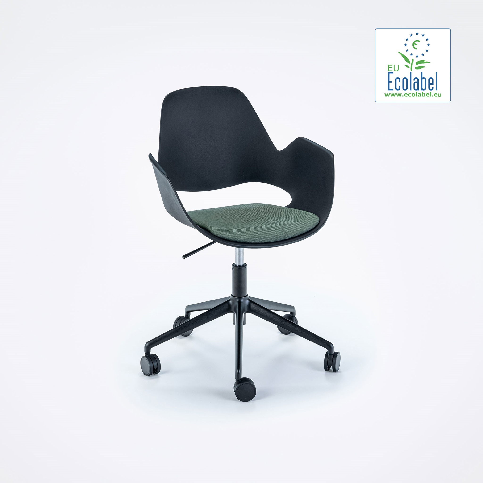 DINING ARMCHAIR // PADDED SEAT // Dark green // castors // 5 star swivel base